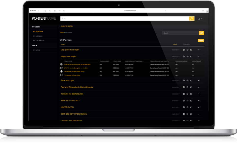 Playlists screenshot